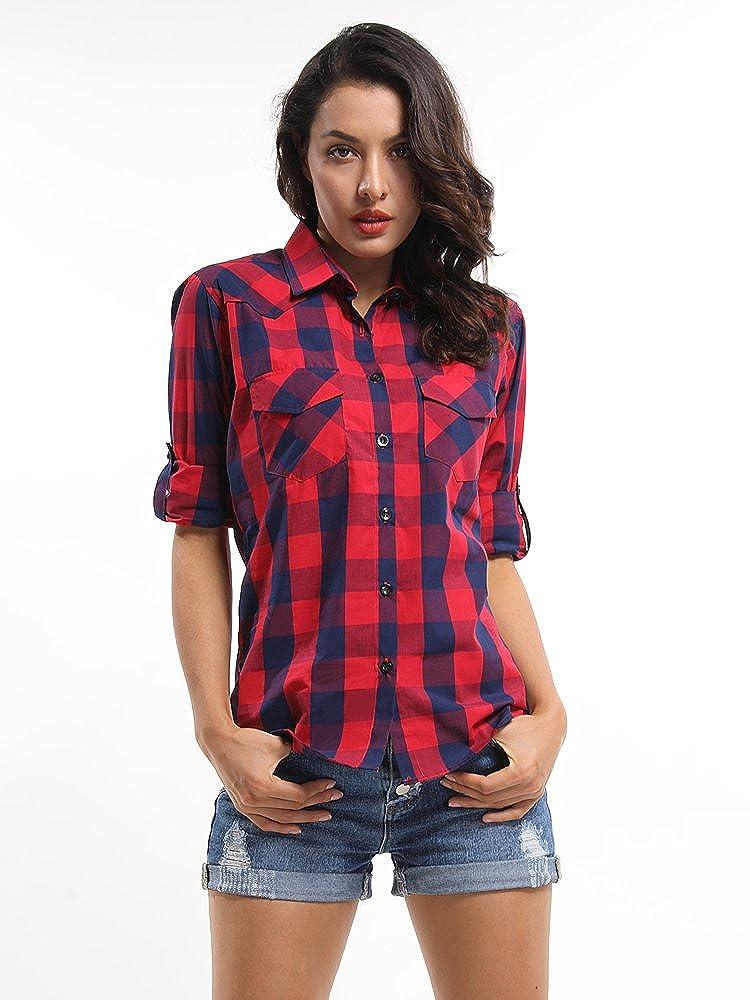 De la Mujer mid-long estilo Roll-up funda - Camisa de franela - -: Amazon.es: Ropa y accesorios