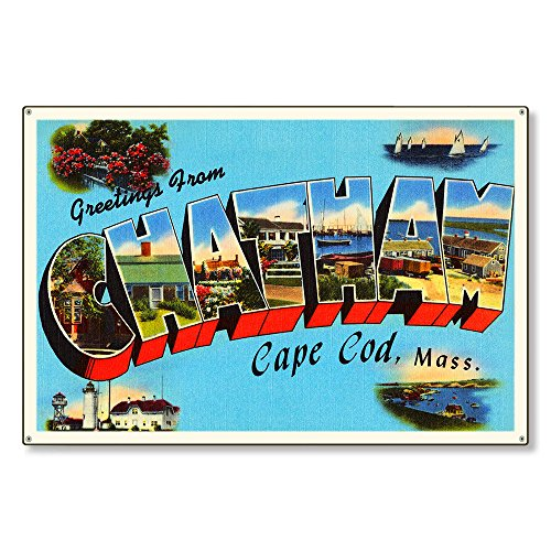 Chatham Cape Cod Massachusetts ma Old Retro Vintage Large Letter Travel Postcard Reproduction Metal Sign Art Decor Steel Sign 12x18 inch.