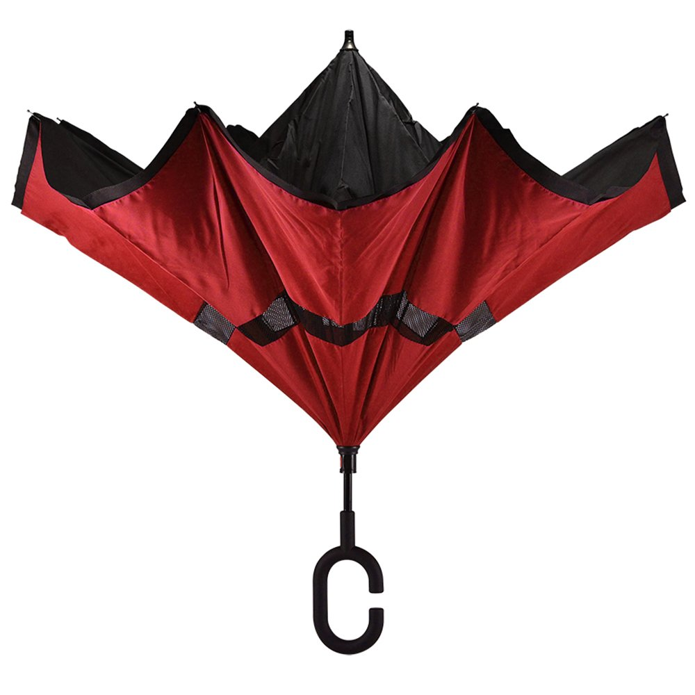 Red Black Revers-A-Brella Portable No-Drip Inverted Auto Open Close C-Handle Umbrella