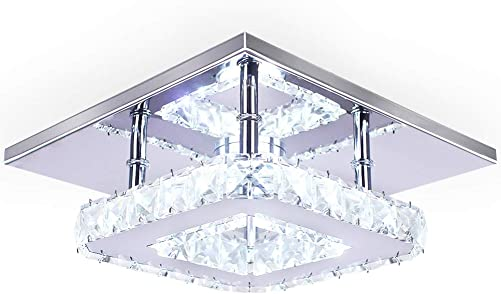 Dixun Modern Crystal Chandelier 7.9 Inches Led Ceiling Light Mini Square Flush Mount Ceiling Light for Bedrooms Dinning Rooms Hallway Cool White,15W