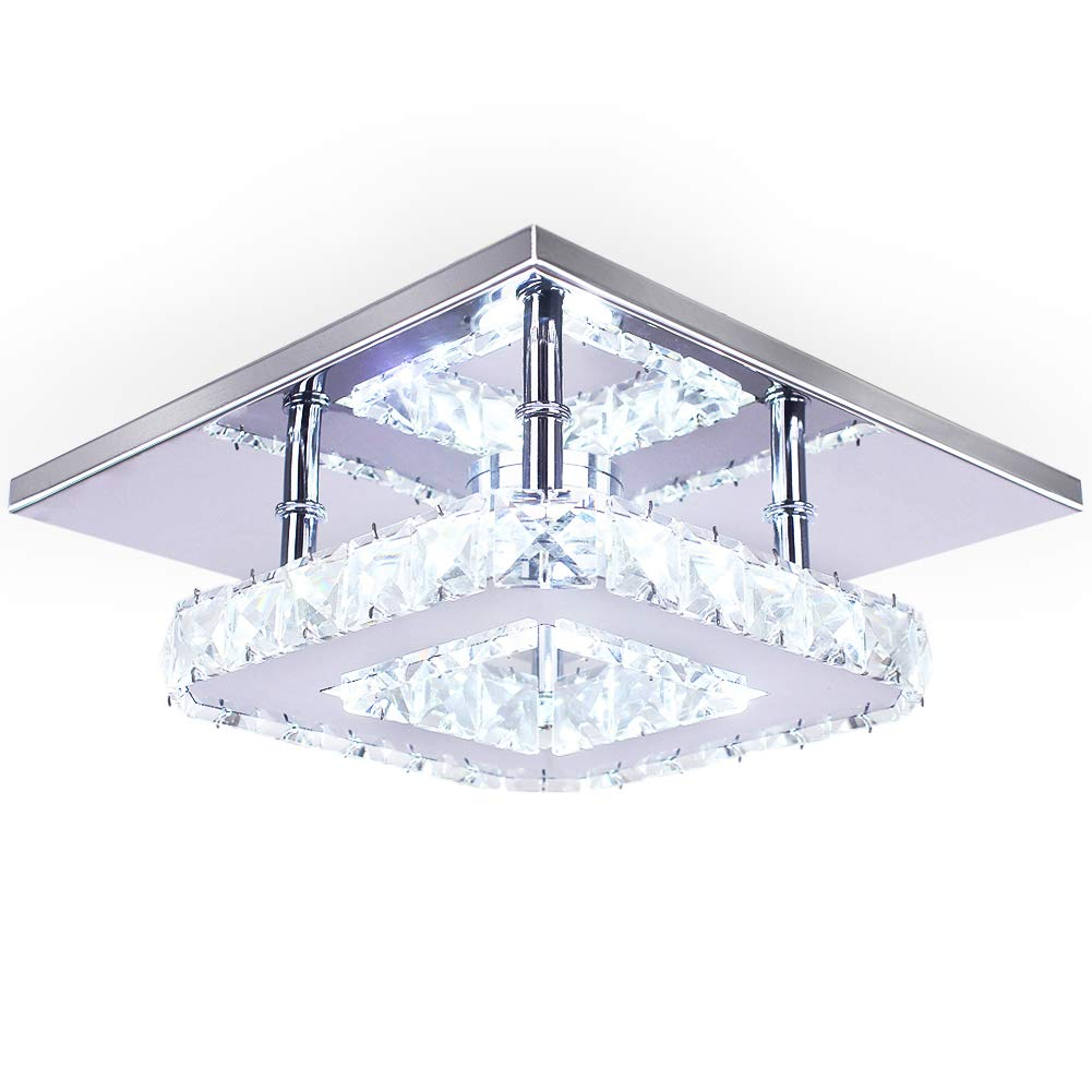 Dixun modern crystal chandelier 7 9 inches led ceiling light mini square flush mount ceiling light for bedrooms dinning rooms hallwaycool white15w