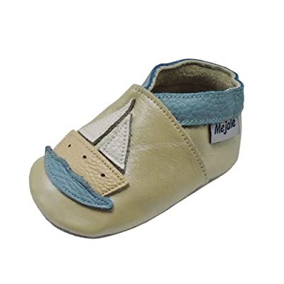 Mejale Baby Shoes Soft Genuine Leather Toddler Infant Crawling Moccasins Cartoon Sailboat
