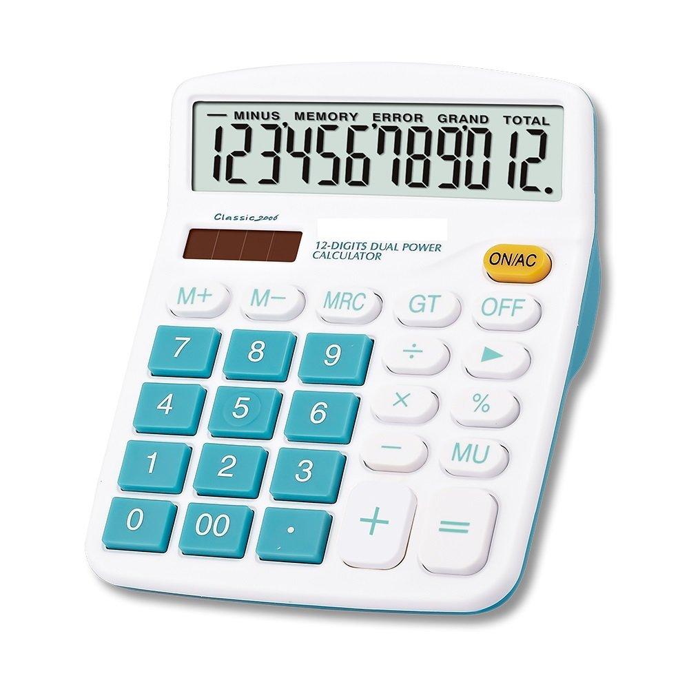 Calcolatrice solare da tavolo Lianshi Dual Power Plastica ABS Calcolatrice da tavolo a 12 bit Calcolatrice colorata (Blu)
