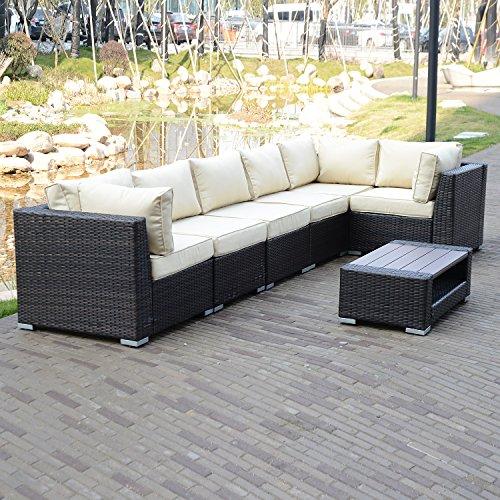 Walcut 7PCS Rattan Sectional Furniture Set with Cream White Seat Cushions, Outdoor PE Wicker price