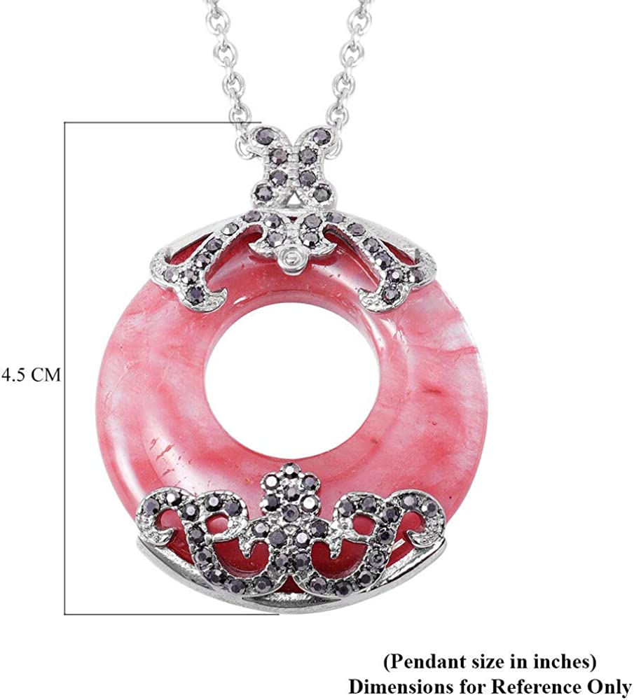 TJC Donut Pendant for Womens Pink Quartz and Synthetic Crystal in Stainless Steel