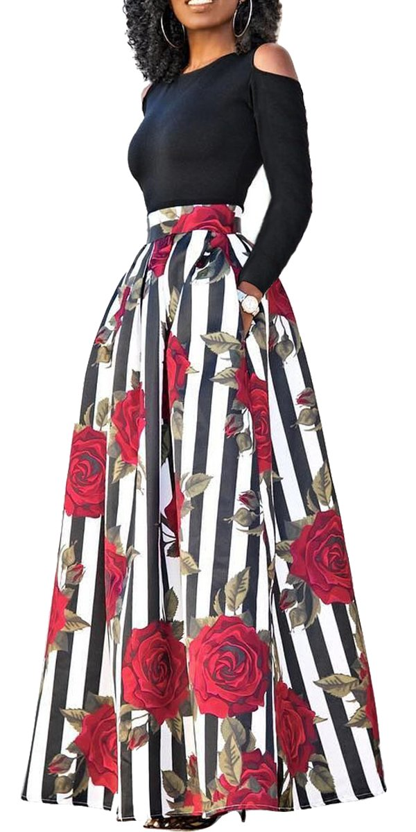 lexiart 2 Piece Dresses Vintage Flared Flowy 2018 Spring Summer Red Black s