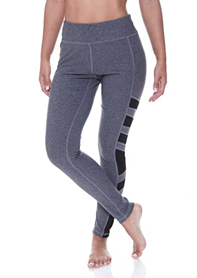 bc9acf3f357000 N.Y.L. New York Laundry Women's Workout Exercise Tummy Control Leggings  With Mesh Charcoal Heather Small. Roll over image to ...