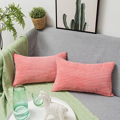 Jeanerlor 2 Pcs Super Comfortable Corduroy Throw Pillow Cover Cushion Case from Home Decor for Toddler (Boy or Girl), 12x20 inch (30 x 50 cm), (12x12 Corduroy)