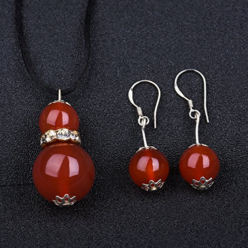 Copper Agate Pendant - usongs Six German multicolored agate gourd copper alloy necklace pendant earrings jewelry women girls classical piece for everyday wear gifts