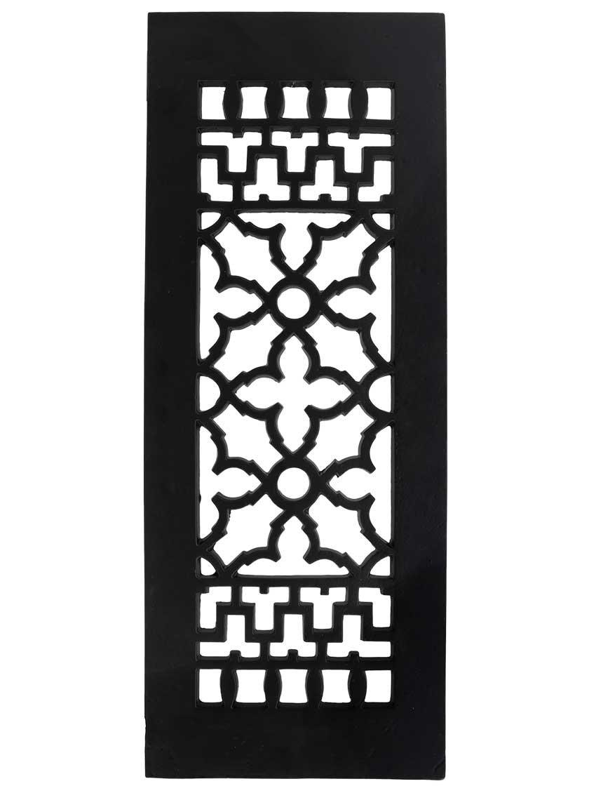 "6"" x 12"" Cast Iron Victorian-Style Floor Grate in Matte Black"