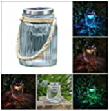 Homezone® Large Vintage Solar Powered Cornish Hanging Glass Jar Light Lantern With Colour Changing LED Lights. Patio Table Decoration Lamp Round Hanging Patio Table Lantern Or Window Centrepiece Indoor Or Outdoor Multicolour Garden Lighting