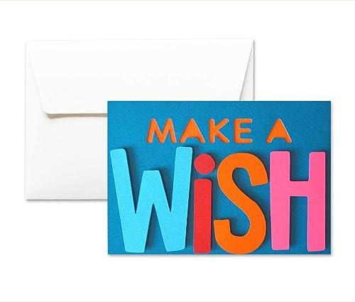 Faire Un Vœu Joyeux Anniversaire Carte De Voeux Avec Enveloppe 10 5 X 15 Cm Carte Faite A La Main Blanc A L Interieur Amazon Fr Handmade