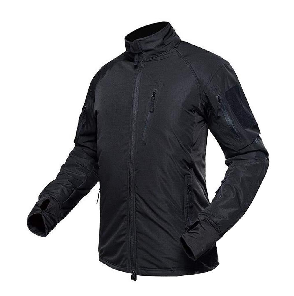 GRZP Frühling Tarnung Kleidung, Outdoor Wasserdichte und Samt Warme Kleidung Bergsteigen Reiten Jacke Taktische Tarnung Windjacke Mann (Farbe : SCHWARZ, größe : M)