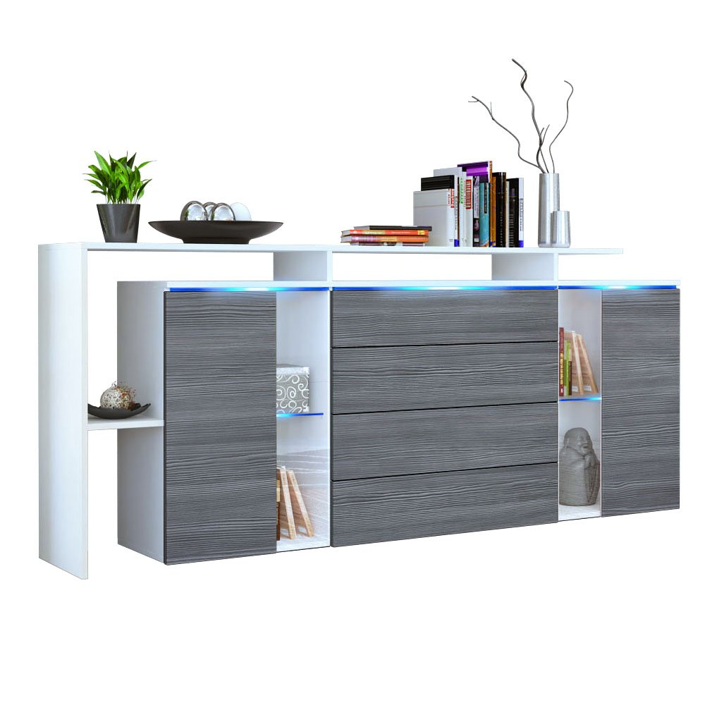 Front in Avola-anthracite 185 cm Vladon Sideboard Chest Drawers Lissabon, Carcass in White matt Front in White High Gloss