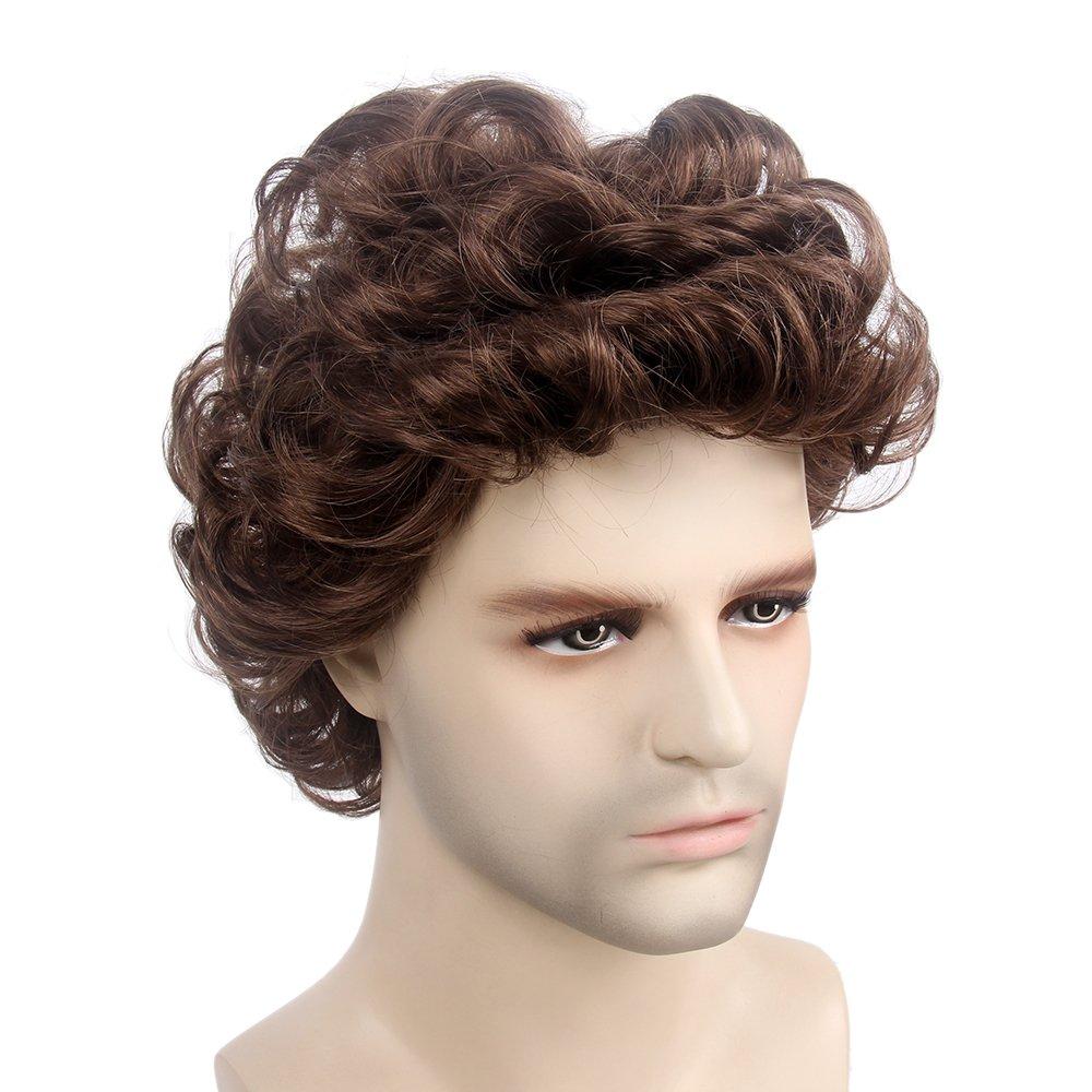 STfantasy Mens Wig Male Short Layered Curly Wavy Hair Halloween Cosplay Party w/ Cap (12 Brown) GF-W3531#8-FBA