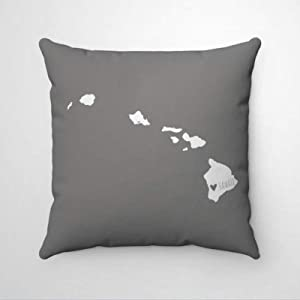 "DONL9BAUER Heart Hawaii Map Pillowcase Home State Map Decorative Square Throw Pillow Covers Farmhouse Cushion Cover for Sofa Couch Home Decor 18""x18"""
