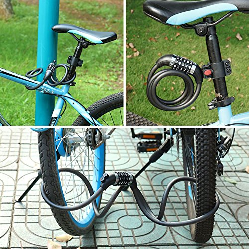 Amazon.com: icocopro bicicleta candado de cable con luz LED ...
