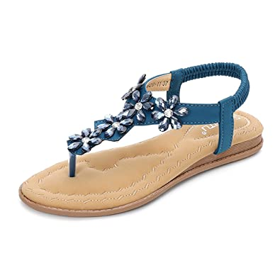 gracosy Sandalen Damen Leder Zehentrenner Thong Hausschuhe Pantoletten Schuhe Sommer Herbst Sandalen T-Strap