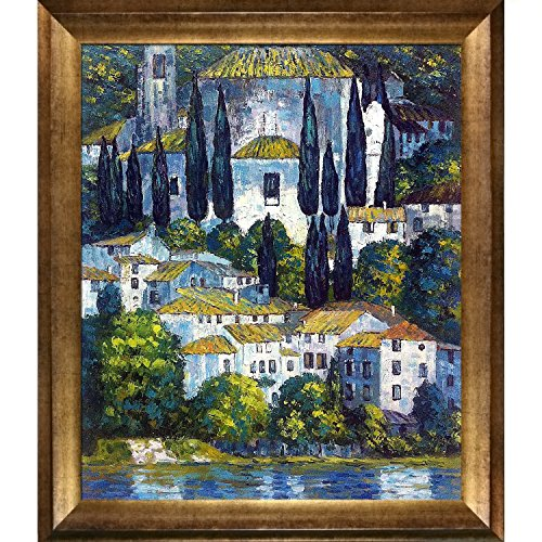 Overstockart Klimt-Church in Cassone Landscape Artwork with Cypress Oil Painting with Athenian Gold Frame, Antique Finish - Antique Painting Frames