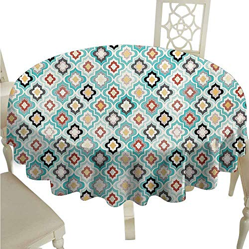duommhome Geometric Durable Tablecloth Vintage Ottoman Style Floral Design with Old Fashion Heraldic Tiles Artistic Image Easy Care D55 Aqua ()