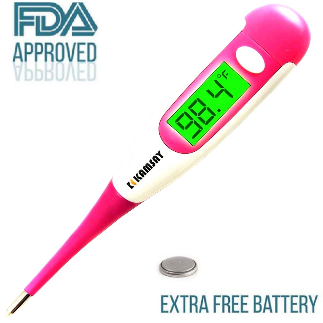 Best FDA Digital Medical Thermometer,Easy Accurate and Fast 10 Second Read Fever Body Temperature, Flexible Tip,Waterproof for Baby,Kids, Adults, Pets,Oral, Underarm, Rectal Termometro (Pink)