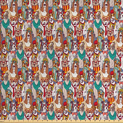 (Ambesonne Dog Fabric by The Yard, Hipster Bulldog Schnauzer Pug Breeds with Glasses Hats Scarf Pattern Colorful Cartoon, Decorative Fabric for Upholstery and Home Accents, 2 Yards,)