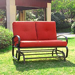 2 Person Loveseat Cushioned Rocking Bench Furniture Swing Rocker Lounge Glider Chair in Brick Red