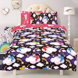 Todd Linens Kids 2 in 1 Reversible Quilt Duvet Cover and Pillowcase Bedding Bed Set Polycotton New colourful Designs (Unicorn'Believe In Your Dreams' Black & Pink, Double)