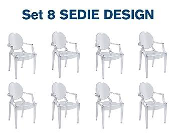 8 Sedie Ghost REPLICA Design Philippe Starck in policarbonato ...