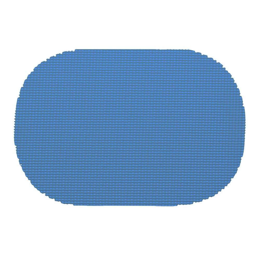 12 Piece Process Blue Placemats,(Set of 12), Machine Washable, Solid Pattern, Oval Shape, Contemporary And Traditional Style, Perfect For Everyday Entertaining, Season Or Holiday Lace Material, Navy