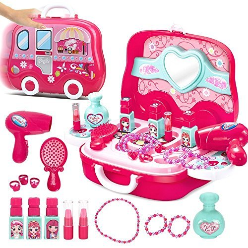 BonnieSun 19pcs Little Girls Pretend Makeup Set Cosmetic Beauty Salon Toy Pretend Dress-up Kit for Toddlers Kids With Mirror -