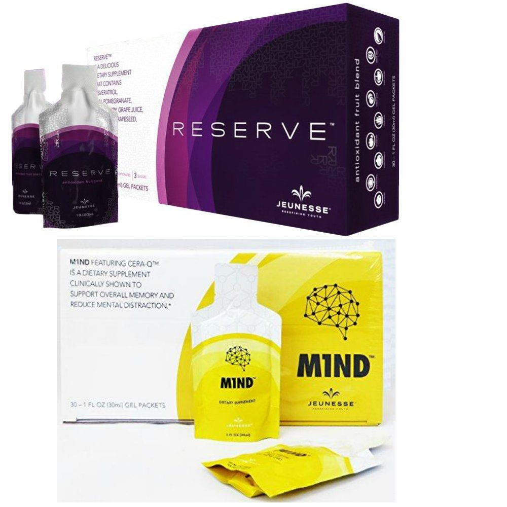 Jeunesse RESERVE and M1ND Bundle Pack - Nutritional Supplement, All Natural Ingredient - Original 1 Box Each,60 Fruit Gel Packets in all - Final Sale