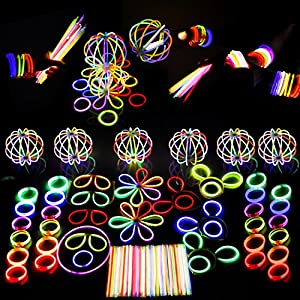 Glow Stick LED Light Up Party Favors Bulk Glow in the Dark Party Supplies Includes Glowsticks, Bracelets, Glasses, Butterfly Hair Clip Accessories, Hair Clasp Glow Birthday Party Pinatas- 500 pcs