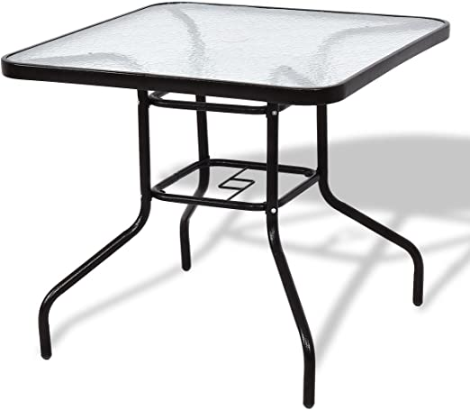 Amazon Com Modern Patio Square Table Steel Frame Dining Table