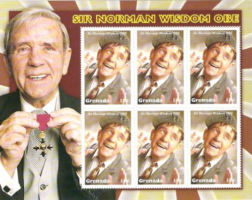 NORMAN WISDOM COMMEMORATIVE STAMP SHEET FROM GRENADA by Norman Wisdom (Grenada Sheet)