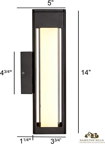 Hamilton Hills 14″ Outdoor LED Light Tube Black Wall Sconce Lighting Exterior Wall Fixture
