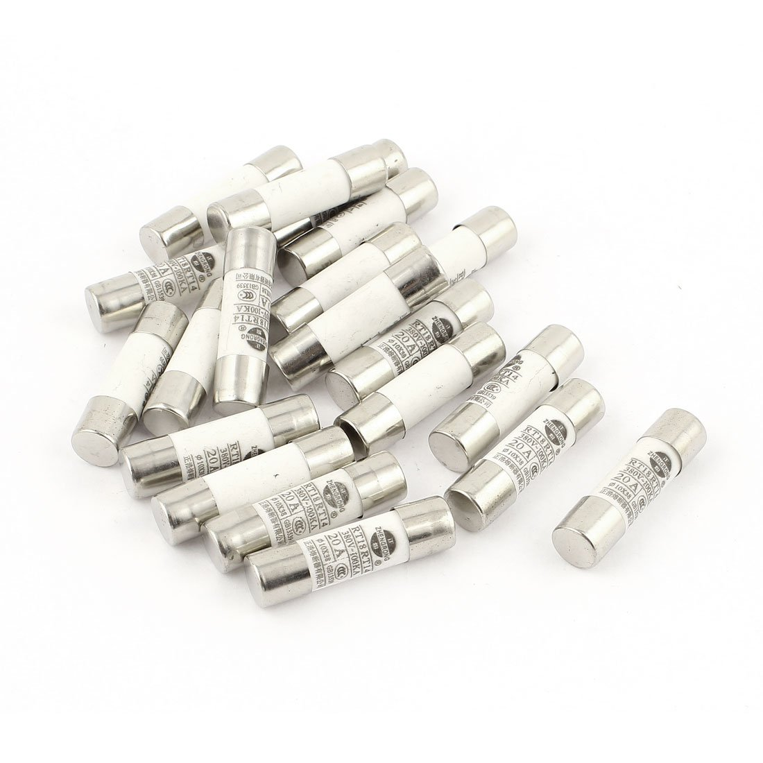 uxcell 20 Pcs RO15 RT18 RT14 Ceramic Cylindrical Tube Fuse 20A 380V 10x38mm SYNCTEA005630