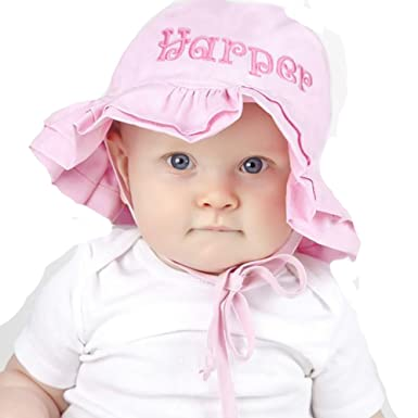 a1957e76ccc Melondipity PERSONALIZED Embroidered Double Ruffle Brim Pink Baby Sun Hat  (2-4 years)