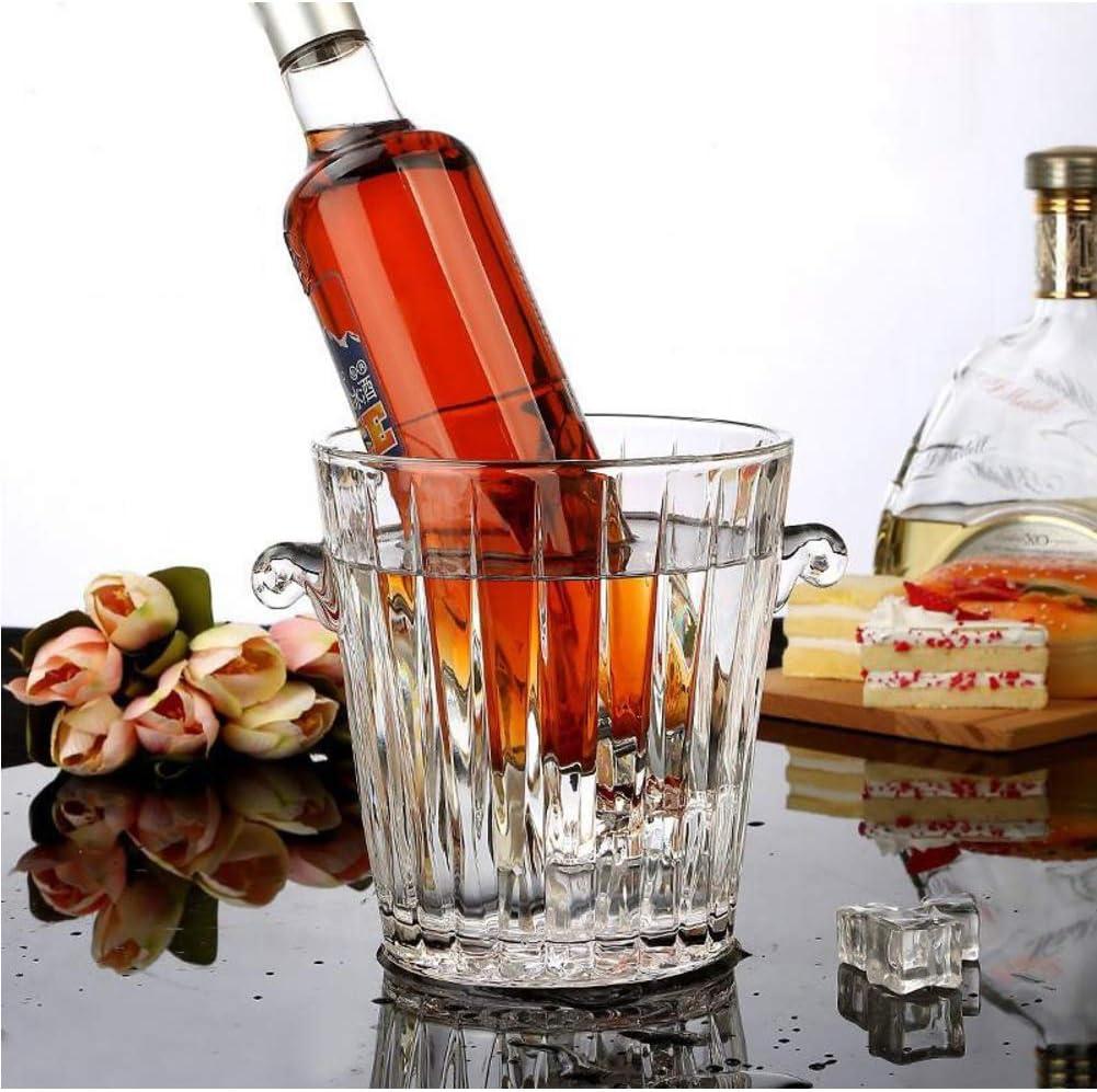 Cristal Cubitera Cubo De Hielo,aislamiento Cubitera De Vino Enfriador Para Champagne Cerveza,elegante Vaso Cubitera Cubo De Hielo Enfriador De Vino Pinzas Hielo Para Partido-b 11x16x17cm(4x6x7inch)
