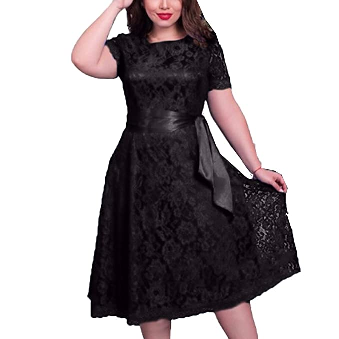 b4f6cc55bb2f6 Daxin Plus SIZE L-5XL Women Short Sleeve Lace Casual Evening Cocktail Party  Dress at Amazon Women's Clothing store: