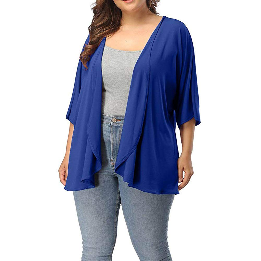 Kulywon Womens Plus Size Summer Casual Open Front Half ...