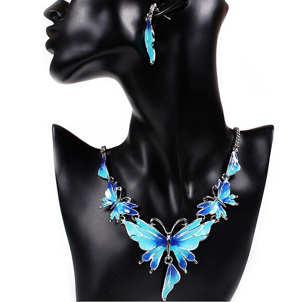 Women Fashion Wedding Sets Butterfly Choker Pendant Necklace And Earring Sets Bride Jewelry Gift Blue Elisona