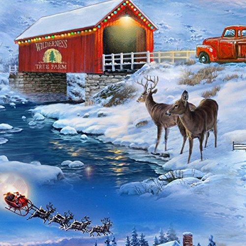 Country Christmas Fabric - Barn Snowman Covered Bridge - Elizabeth's Studio YARD