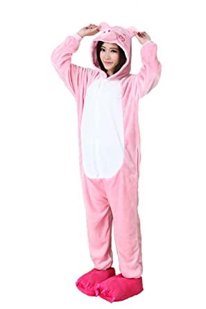 vimans Pink Onesie Pajamas Adult Unisex Cosplay Animal Sleepwear for Women 734fa8cdec2d