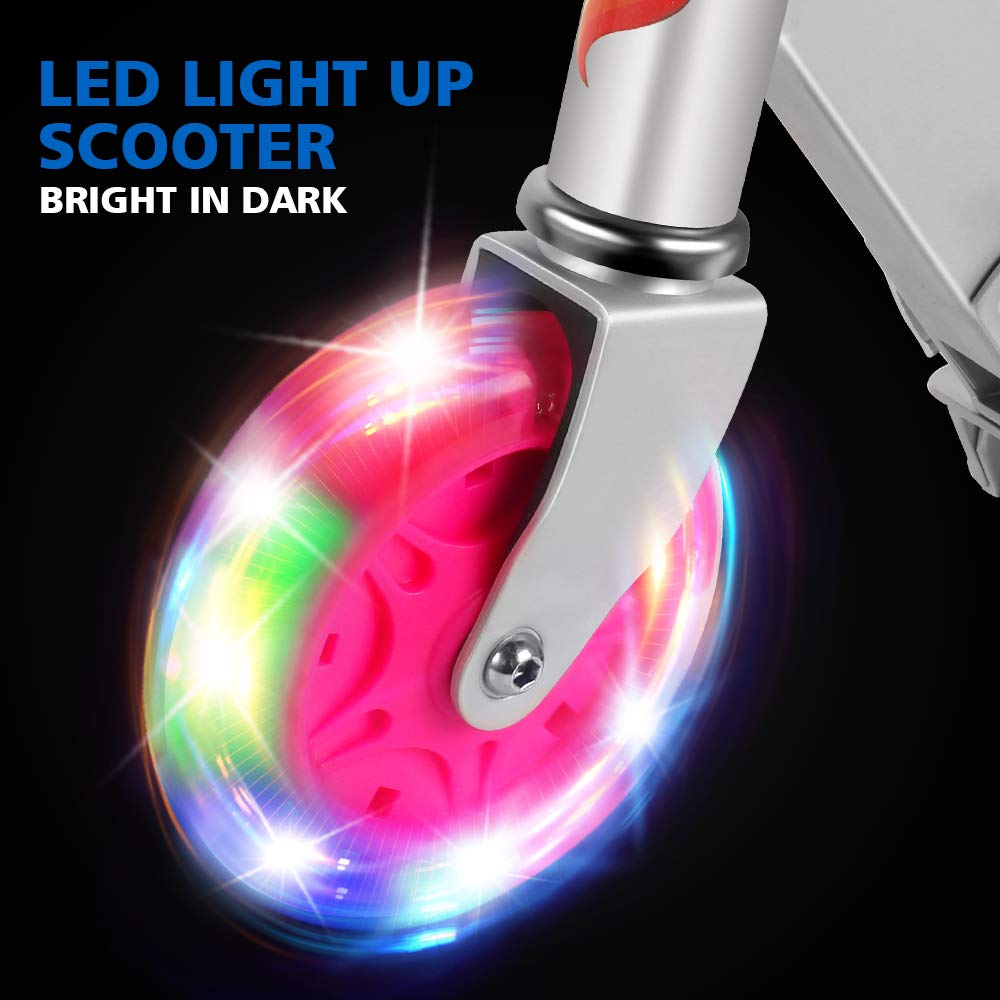 LED Light Up Wheels Toddler Scooter US Safety Certified Ages 5+ 3 Adjustable Height OUTON Folding Kick Scooter for Kids 2 Wheel Kids Scooter