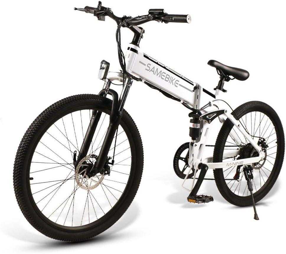 SAMEBIKE Bicicletas eléctricas con neumáticos de 26 Pulgadas Bicicletas eléctricas de montaña Plegables 48V 500W para Adultos