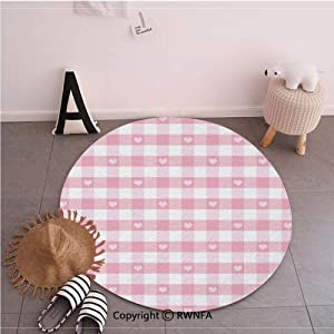 Commercial Grade Standing Mat,Lovely Romantic Pattern with Cute Little Hearts Children Kids Girlish Design Baby Pink White,35.4inches,Rugs for Office Stand Up Desk,Circle 5-Feet Diameter