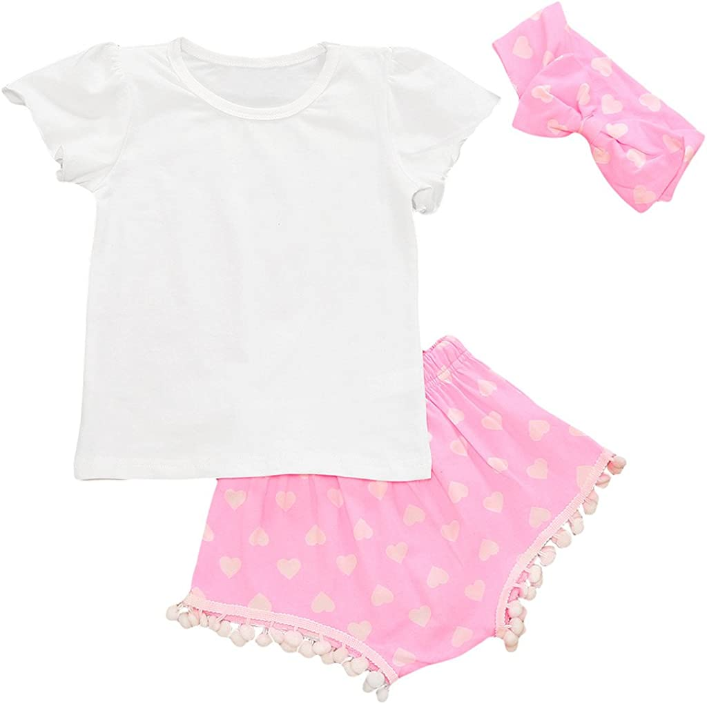 MIOIM Infant Baby Girls 3pcs Summer Outfits Set White Tops Pink Sweet Heart Pompom Tassels Shorts Pants