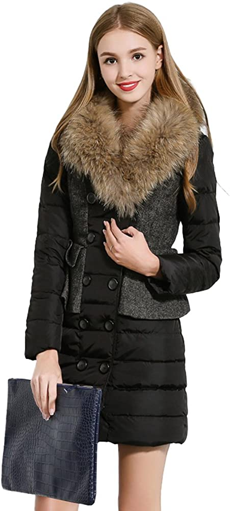 Queenshiny New Style Womens Stitching Down Coat with Raccoon Collar