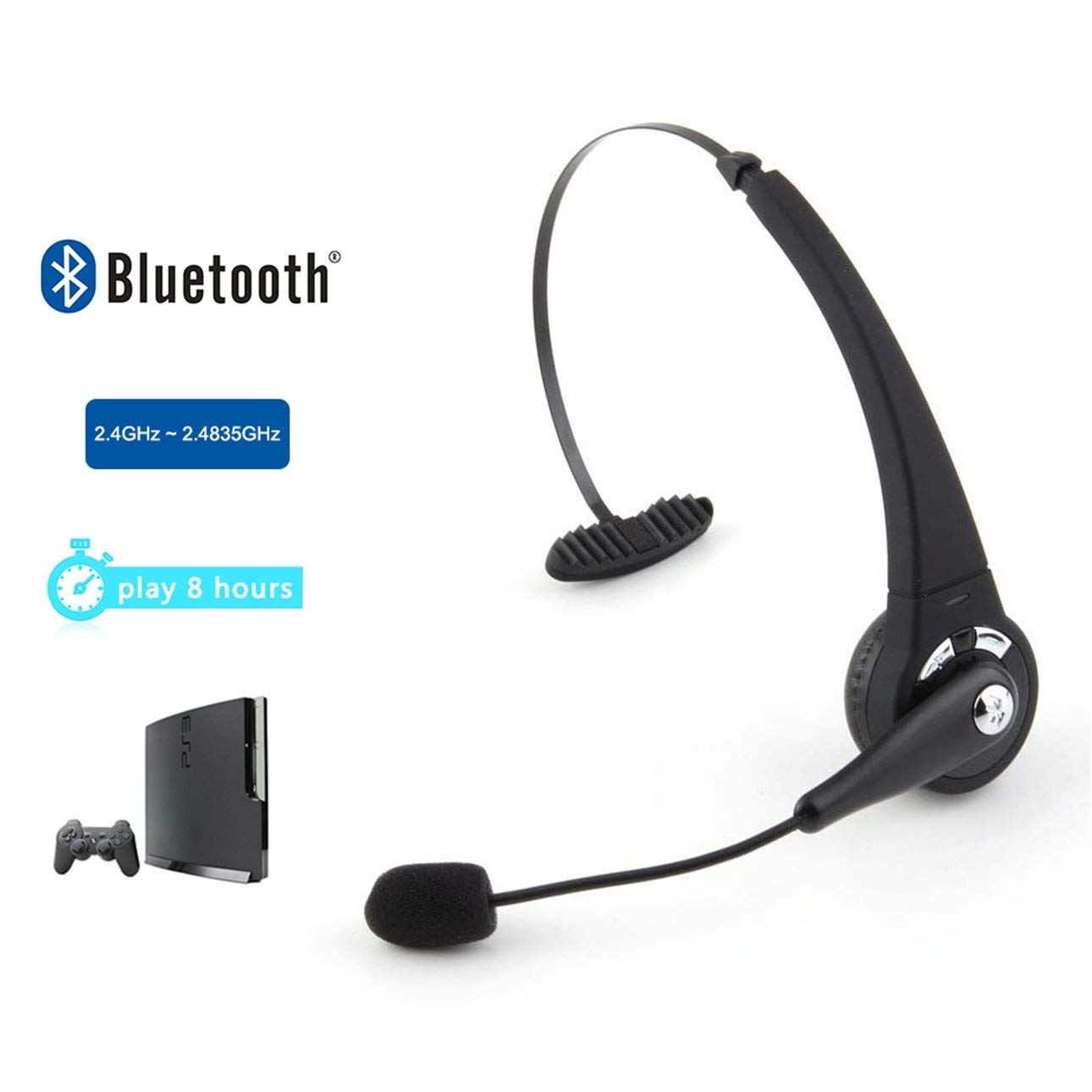 Liobaba Gaming Bluetooth Wireless Headset Headphone Earphone Stereo Sound Fit for Sony Playstation 3 PS3 with Microphone